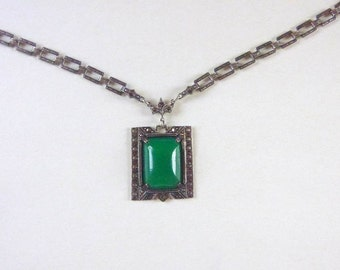 Art Deco sterling open back chrysophrase and marcasite book chain link necklace