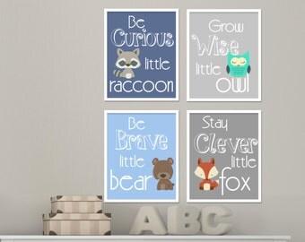 Stay cleaver little fox Woodland wall art Baby boy wall art Be brave little bear Boys room wall art in  Set of 4 prints  H168