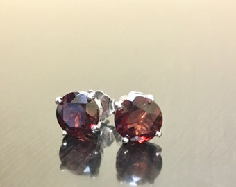 18K White Gold Garnet Stud Earrings - 18K Gold Garnet Earrings - White Gold Earrings - 18K Garnet Studs - 18K Garnet Gold Stud Earrings