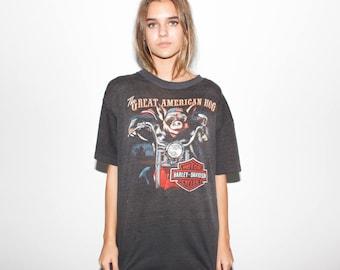 80s 3D Emblem Hawg The Great American Hog Harley Davidson Paper Thin T Shirt