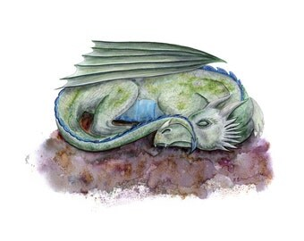 Sleeping Dragon Painting - Dragon Art - Fantasy Art Print - Kids Wall Art - Dragon Print - Boys Room Decor - Boy Room Painting - Fairytale