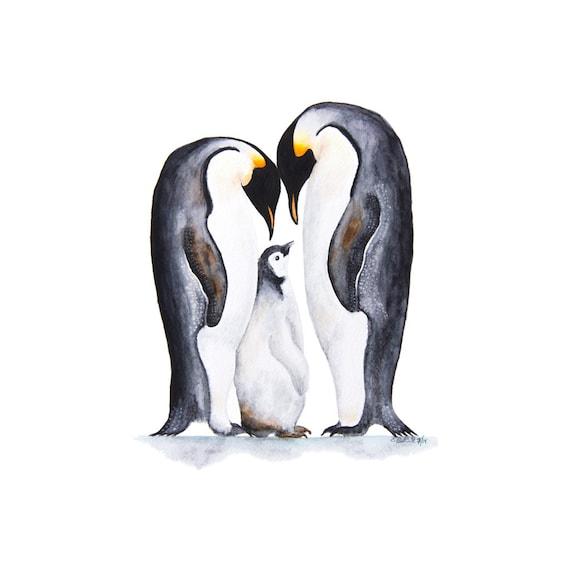 Penguin Wall Art Nursery Decor Penguin Art Print Penguin