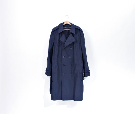 SALE 40% OFF - 90s American Navy Water Repellent Poplin Army Trench Coat / Size 44L - m/l