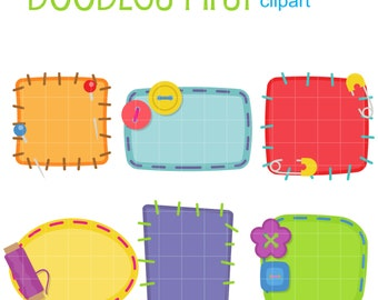 Sewn Patch Frames Digital Clip Art for Scrapbooking Card Making Cupcake Toppers Paper Crafts
