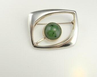 Jade Brooch Natural Jade Jewelry Green Jade Jewelry Cabochon Jewelry Jade Cabochon Brooch Modernist Brooch Space Brooch Star Trek Brooch Pin