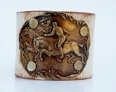 Leather Cuff Bracelet in Hand Weathered Leather (Antique Finish) w/ Vintage Brass Polo Horses - Equestrian, Horseback Riding, Pony, Custom