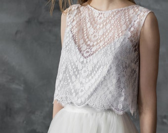Sleeveless lace wedding top separate, ivory lace top, bridal cover up, bridal separates/ Only one size EU36/ Ready to ship!