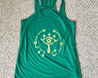 Zelda Breath Of The Wild Sheikah Symbol, Screen Printed Tank top, Gamer Gift for her