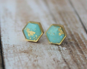 Turquoise and Gold Hexagon Stud Earrings, Turquoise Studs, Turquoise and Gold Studs, Polymer Clay Earrings