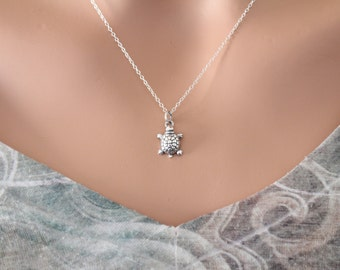 Sterling Silver Turtle Necklace, Tiny Silver Turtle Charm Necklace, 3D Turtle Charm Necklace, Realistic Turtle Necklace, Turtle Necklace