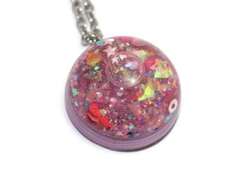 Liquid Filled Pendant Water Globe Jewelry Lavender Mix Galaxy Pendant Lava Necklace Magic Moving Jewellery