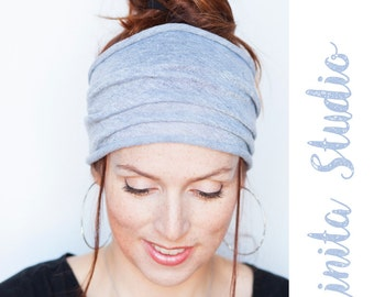 Grey Headband - Grey Headwrap Grey Hairwrap Yoga Headband Workout Headband Boho Headband Bohemian Headband Turban Etsy Finds Fitness Running