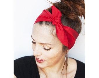 Red Headband - Tie up Headband - Red Hair Scarf Red Head Wrap Red Dolly Bow Hair Accessories Retro VIntage Red Bandana Pinup Tie on Scarf