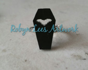 Small Black Coffin Laser Cut Adjustable Silver Ring with Cut Out Bat Silhouette Outline. Costume, Gothic, Horror, Halloween