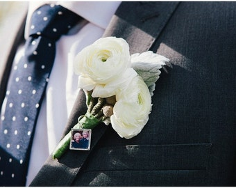 20mm silver photo boutonniere pin, photo Lapel Pin, Custom Lapel Pin, photo Garter pin, photo pin