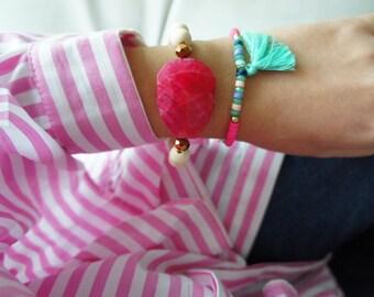 Bracelet Set - Teal Tassel Bracelet - Pink Gemstone Bracelet - Wood Ivory Beaded Bracelet
