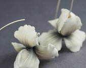 Iris flower earrings - handmade polymer clay jewelry