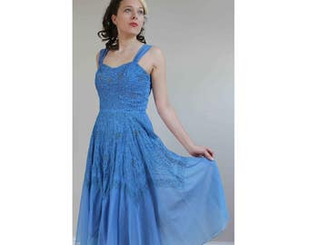 1950s prom dress cornflower blue dress sheer dress size 8 10 dress vintage swing dress full skirt dress 50s dress embroidered blue dress