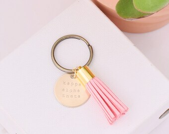 Kappa Alpha Theta Sorority Keychain, Personalized Theta Sorority Key Chain, KAT Sorority Tassel Keychains, Big Little Keychain