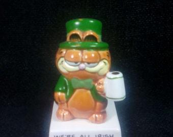 Vintage 1981 Garfield Ceramic Figurine, Irish Theme, Enesco, Jim Davis, Garfield Statue, Garfield Collectible, Garfield Figure