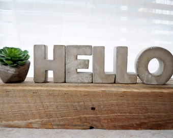 3 Concrete Letters Hello Sign Full Word Free Standing Concrete Words Alphabet Letters Home Decor