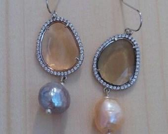 "Earrings ""Peach and Grey"""