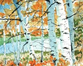Birch Trees in Fall - Limited edition signed watercolor print. landscape woods
