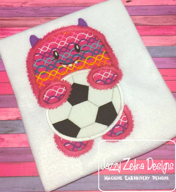 Fuzzy Monster with soccer ball Applique Embroidery Design - soccer appliqué design - monster appliqué design