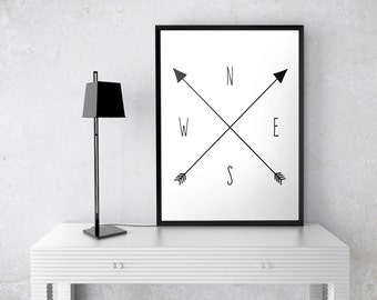 Compass Print, Travel Poster, Arrow Print, Black & White Minimalist, North South East West, 8x10, 11x14, 16x20, 18x24, 24x30 Poster