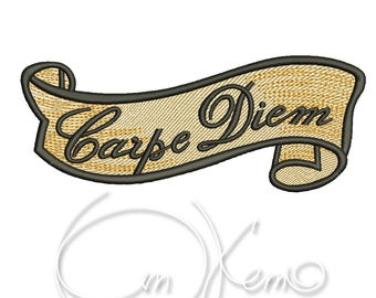 MACHINE EMBROIDERY DESIGN - Old school tattoo embroidery, Carpe diem embroidery