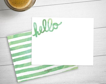 Watercolor Hello Personalized Stationery Set / Personalized Stationery Set with Green Watercolor Hello
