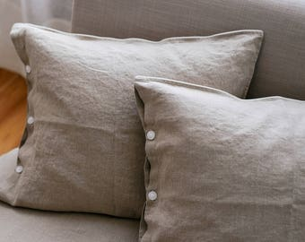 Linen PILLOWCASE, Stonewashed linen pillow case in grey with buttons, Softened linen pillow slip, Linen pillow cover, Linen pillow slip