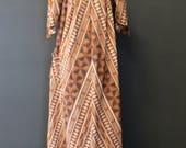 Burt Orange/Brown Tribal Print Mumu/Maxi/Lounge Dress