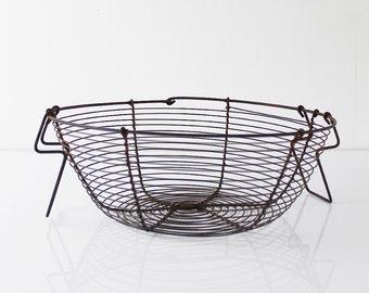 Easter Basket, Vintage Wire Egg basket, French Metal Basket, Rustic Easter Decor, Storage basket, Round wire basket, French Farmhouse - D570