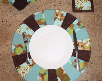 Handmade, Fabric, Centerpiece, Placemats, Table Runner, Palm, Floral, Blue, Brown, Flower, Gift, Kitchen, Dining Room Living Room Decoration