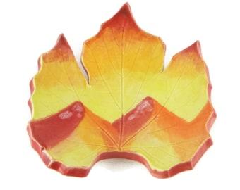 Grape Leaf dish - pottery - Mountain sunset leaf - landscape - ring dish - spoon rest - fall leaf - decor - mountain landscape - handpainted