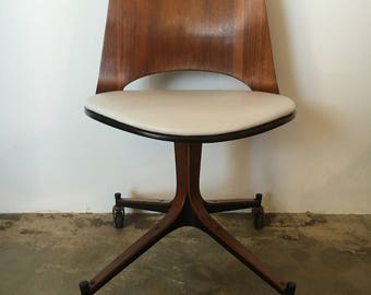 Mid Century Plycraft Swivel Bentwood Rolling Leather Chair by George Mulhauser