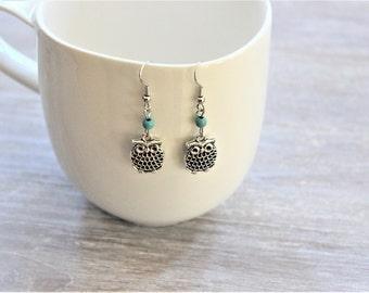 Owl Turquoise Howlite Bead Earrings