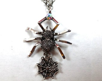 Silver Spider and Web Necklace
