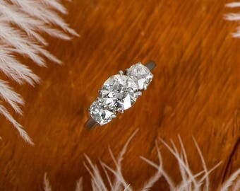 Vintage 1.34ct Old European And Old Mine Platinum Ring. Three Stone Engagement Ring
