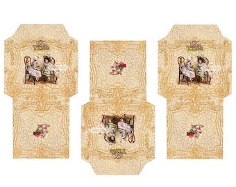 TEA TIME 2 - Printable Download Digital Collage Sheet Tea Bag Holder Envelopes - Paper Cut Template