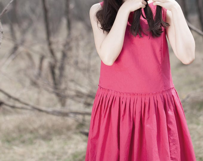 Sleeveless dress - Summer dress - Classic dress - Pleated dress/Decorative pleat - Round neck - Linen dress - Made to order