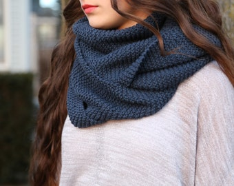 100% Cotton Indigo Blue Infinity Scarf - neck warmer - knitted scarf - blue infinity scarf - indigo blue - cotton scarf - infinity scarf
