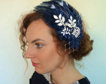 Navy  Wedding Fascinator -Feather Hair Clip - Mother of the bride headpiece- Blue Hair Piece- 1920s Headpiece- Feather headband -PIPPA