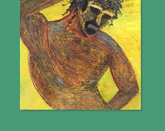 THE WARRIOR - Contemporary Art - Textured Oil Canvas Impressionism - Male painting Impasto - Figurative Male Figure - 27 x 31 inches