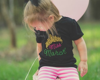 Miss March Embroidered Birthday Girls Shirt Black Pink Green Crown Tiara St. Patricks Day