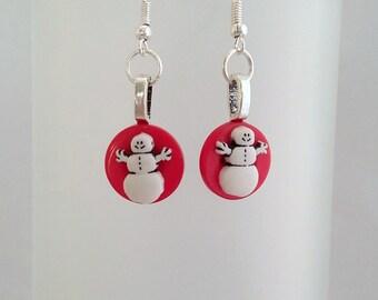 Christmas Snowman Earrings, Snowmen Jewelry, Secret Santa Gift, Stocking Stuffer, Gift For Her Under 5, Gift For Teens, Stocking Filler.