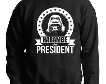 Harambe Sweater Funny Political Harambe For President Sweatshirt