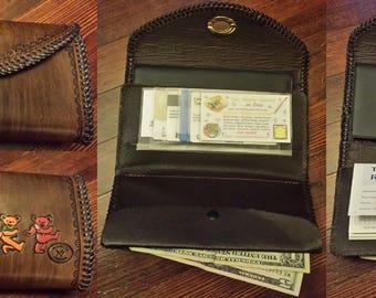Custom Leather Grateful Dead Clutch Wallet