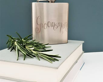 Personalised Hipflask Hip Flask Hand Engraved Customised 6oz stainless steel wedding day Fathers Day whiskey Best Man Groomsman Daddy Pops